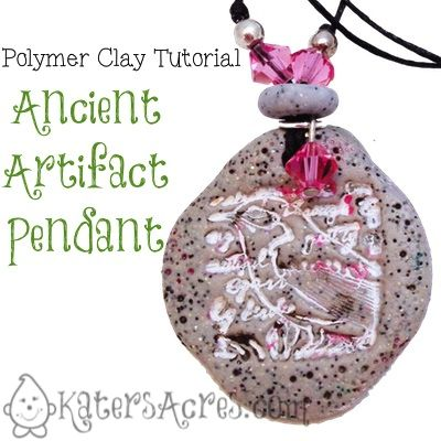 Polymer Clay Tutorial: Ancient Artifact Pendant by KatersAcres