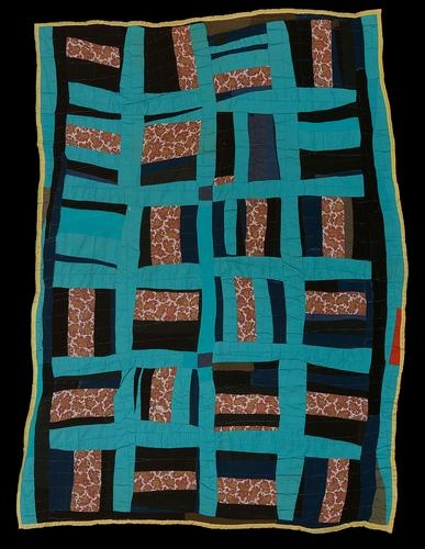 """Deborah Pettway Young (American, 1916-1997). """"Roman Stripes"""" variation, c. 1960.  The Quilts of Gee's Bend exhibit at the Cleveland Art Museum"""
