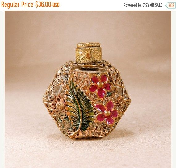Old Perfume Bottle Brass Filigree Decorative Bottle Vintage Flask by GiftsFromPast on Etsy https://www.etsy.com/listing/231101242/old-perfume-bottle-brass-filigree