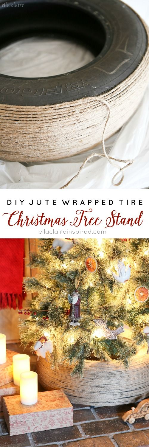 An easy and inexpensive way to make a unique rustic Christmas tree stand!
