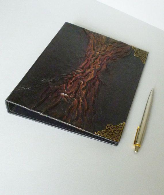 Ring Binder A5 Black Journal Leather Album Folder by AnnaKisArt #ringbinder, #leatherfolder, #blackjournal, #blackalbum, #leatherphotoalbum, #guestbook