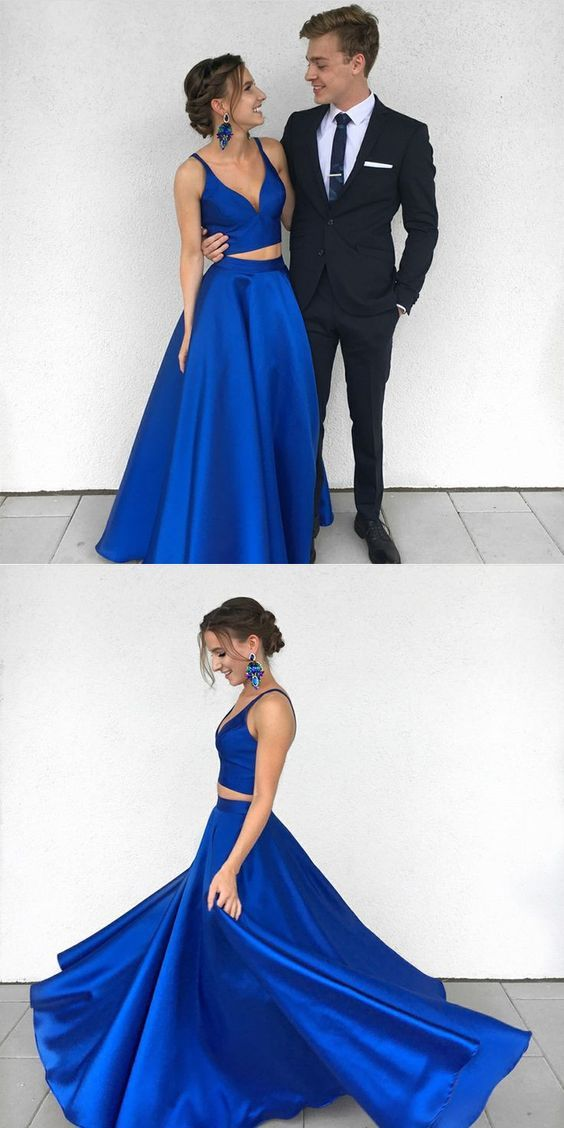 2018 Charming Two Pieces Royal Blue Prom Dress, Sexy Party Dresses, Fashion Newest Prom Dresses, PD0441
