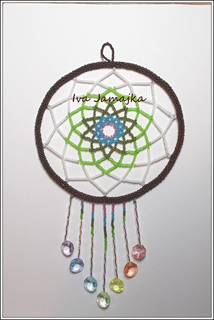 Lapač snů z perliček a skleněných hvězdiček