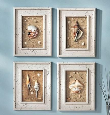 four piece wall art with sea shells | PC Lighthouse Decor Wood Framed Seashells Wall Art Decor Polyresin ...