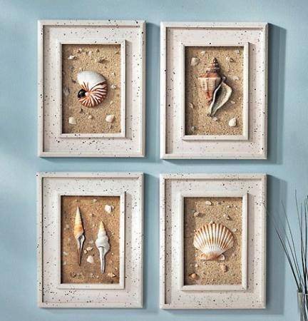 four piece wall art with sea shells | PC Lighthouse Decor Wood Framed Seashells Wall Art Decor Polyresin ...