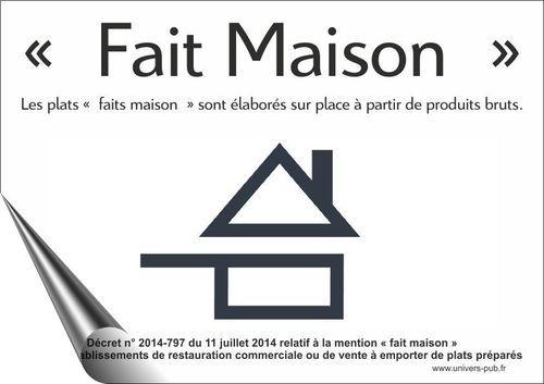 """Autocollant Restaurateur """"Fait Maison"""" 150x200mm Utilisation extérieur"""