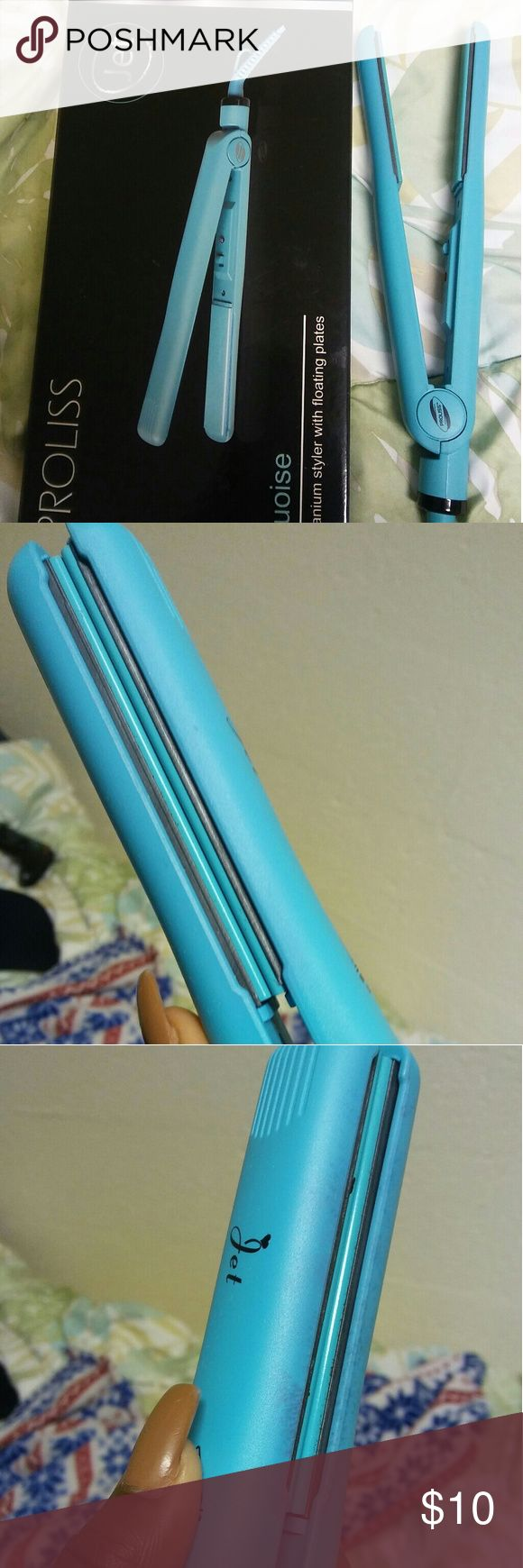 1Inch Turquoise Flat Iron Its a Turquoise color. Its one inch. Only has on and off switch, doesn't have temperature change. It comes in a box, it still has $12.99 price tag on the box Only used it 4 times and had it for 6 months. On one side the color is slowly fading. It has been cleaned. Dual Voltage: 110 - 240V, 50/60hz. Proliss Other