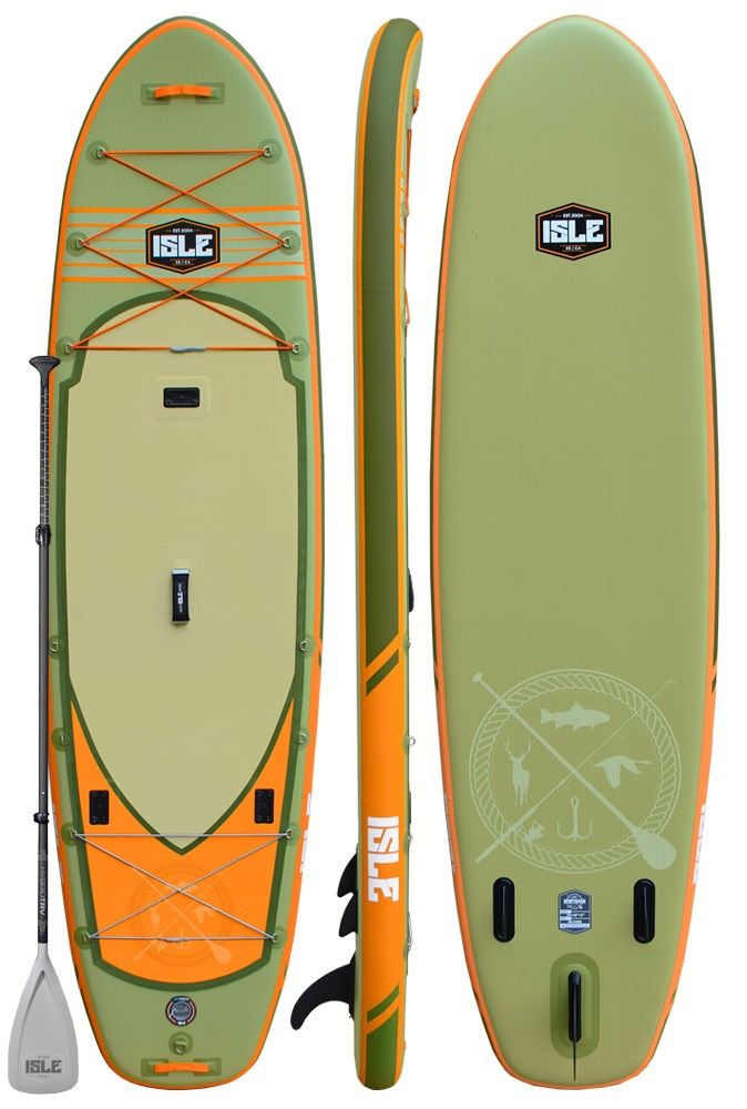 ISLE 11'6 Sportsman Fishing Inflatable Paddle Board, built for the true outdoorsman without the extra weight of a hard board - Starting at $945.