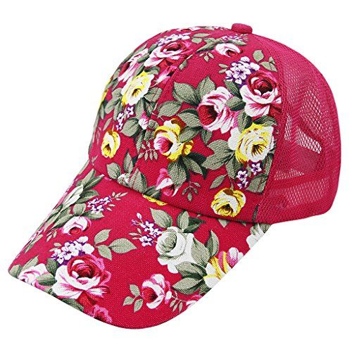 f5b34832835 Fakeface Women Ladies Floral Baseball Caps Sun Protection Large Visor Mesh Sun  Hats Headwear Breathable Quickly