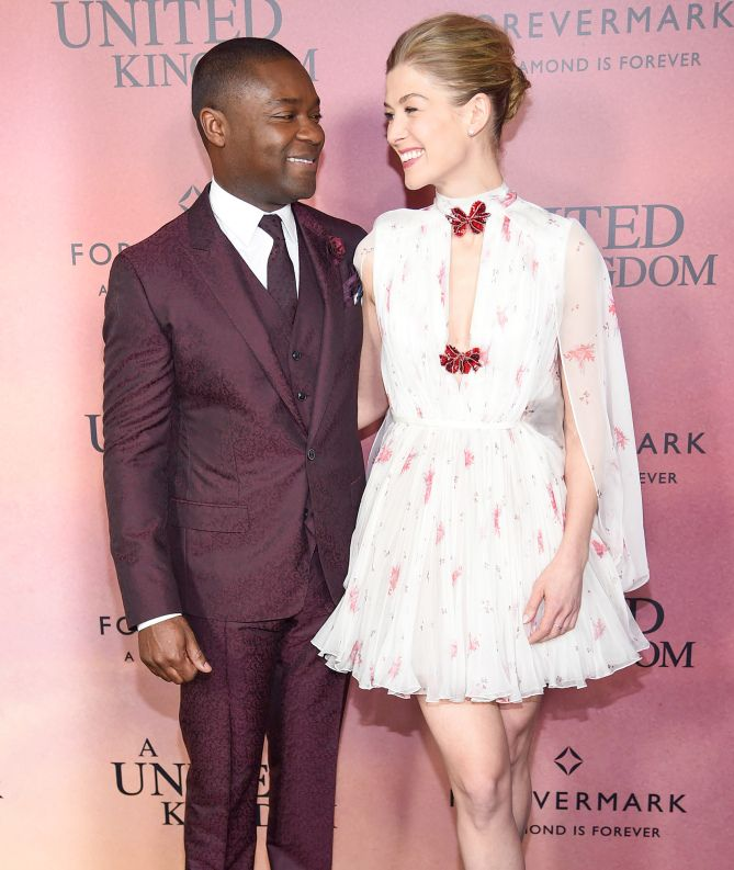 UNITED THEY STAND   David Oyelowo and Rosamund Pike flash smiles on Monday at the N.Y.C. premiere of their film A United Kingdom on Monday.  Star Tracks: Tuesday, Feb. 7, 2017