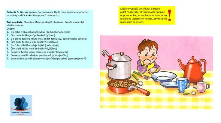 Cvičenie 3: návyky správneho stolovania | Centrum Vzdelávania Rodičov