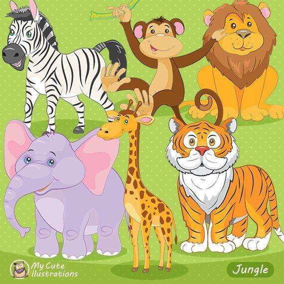 Jungle Animals Clipart, Animals Clip art, Cute Jungle Clipart, Safari Animals, Birthday Party, Baby Shower