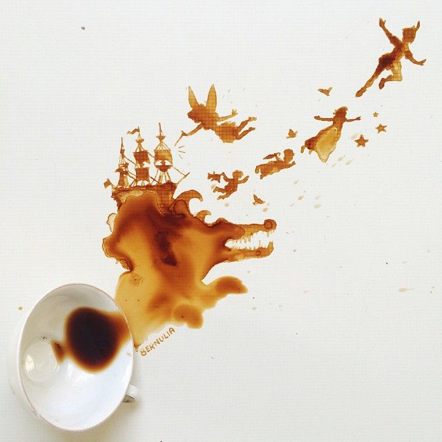 Giulia Bernardelli creates beautiful scenes and portraits with cups of coffee, melting ice cream, honey, etc.