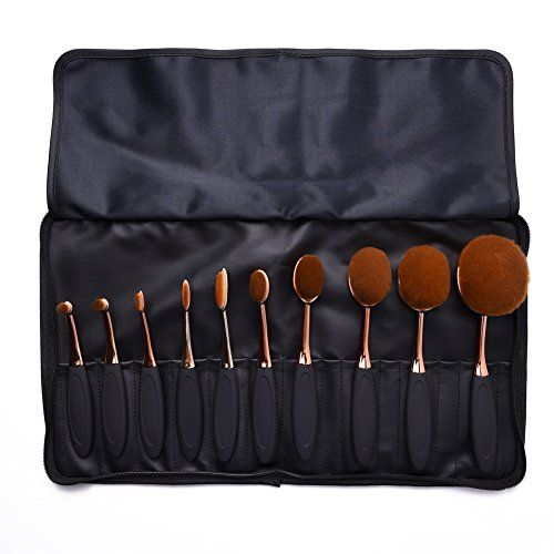 Uarter Oval Makeup Brushes Set Professional Toothbrush Cosmetic Tool for Eye and Face with Cosmetic Bag 10 PcsSet *** More info could be found at the image url.