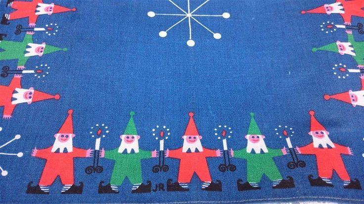 Klassisk blå Jerry Roupe julduk duk tomtar retro jul jultomte