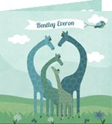 www.hetuilennestje.nl Geboortekaartje Bentley: illustratief, illustratie, giraffe, giraffes, dieren, landschap, mint, groen, blauw, vogel, wolken, bloemen, gras, familie, jongen. Het Uilennestje - Geboortekaartjes - Zwolle