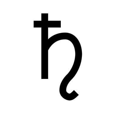 Astronomical and astrological symbol for the planet Saturn, and alchemical symbol of lead. - Lexicon/Public Domain