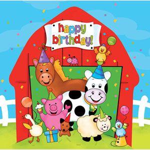 60 - Barnyard Bash Lunch Napkins. Pack of 16 Barnyard Bash Lunch Napkins, Happy Birthday (33cm x 33cm) 3 Ply - Pack of 16