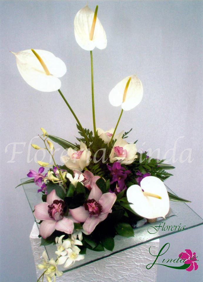 Elegante centro de mesa con variedad de orquideas y anturios en base de cristal.