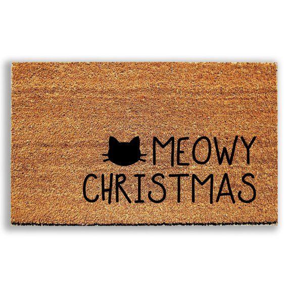 Meowy Christmas Doormat Welcome Mat Cat Doormat Outdoor Rug