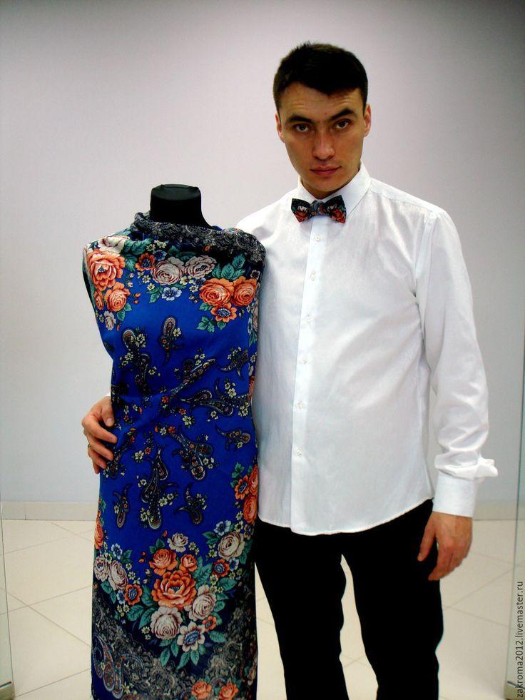 Купить Галстук-бабочка русский стиль (2) - павловопосадский платок, пейсли, одежда из платков