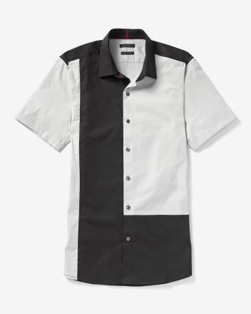 Chemise étroite blocs de couleur à manches courtes