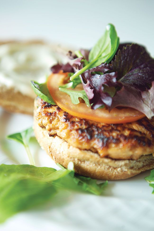 What an Extreme Makeover Nutritionist Really Eats (  Hoison Salmon Burger Recipe)   http://hellonatural.co/wellness-kitchen-author-paulette-lamberts-healthy-eating-tips-hoisin-salmon-burger-recipe/