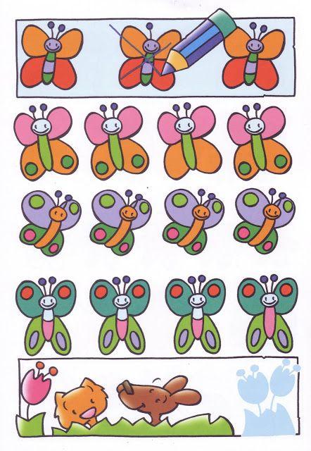 Welke vlinder is anders, visuele discriminatie voor kleuters