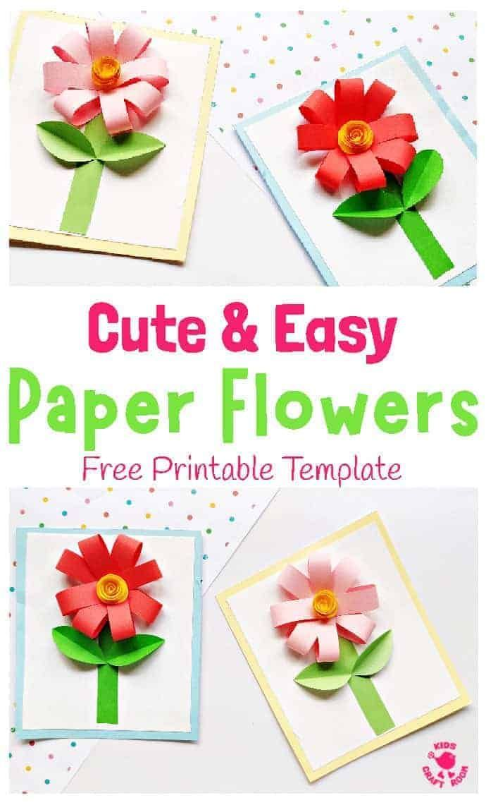 Pretty Paper Flower Cards Spring Crafts For Kids Paper Flower Crafts Flower Crafts