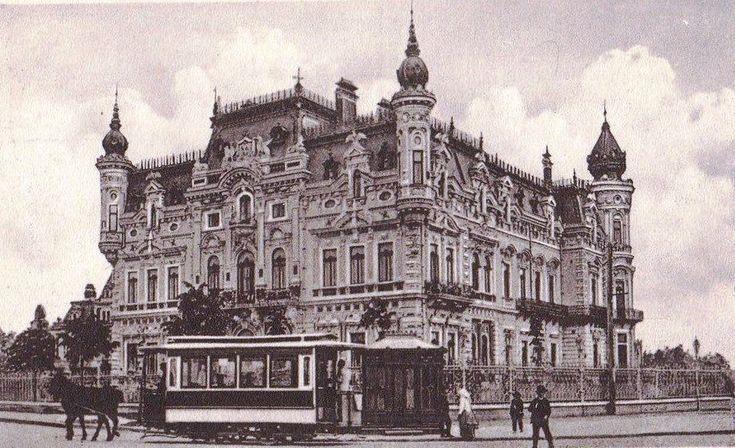 Tramvai cu cai la inceputul sec. XX - Palatul Sturdza (Ministerul de Externe) - pe locul unde se afla azi Palatul Victoria