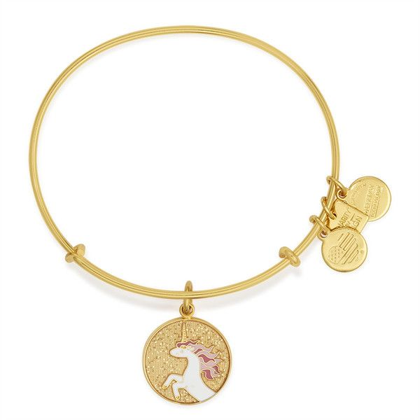 Unicorn Charm Bangle | Children's Miracle Network Hospitals®, Shiny... (517.560 IDR) ❤ liked on Polyvore featuring jewelry, bracelets, bangles, shiny gold finish, bracelets bangle, alex and ani jewelry, charm bangle, hinged bracelet and hinged bangle