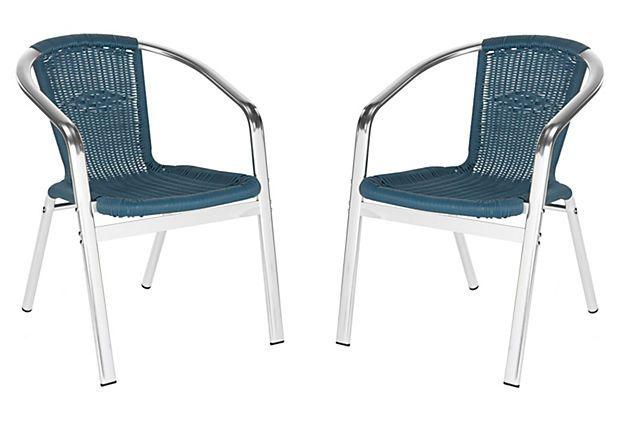 Teal Pantheon Stackable Armchairs, Pair on OneKingsLane.com