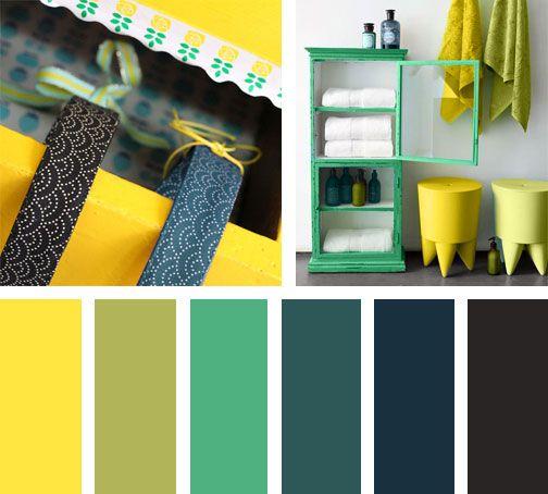 Amarillo y verde combinan perfectamente en esta paleta de colores, derivando un delicioso aroma a limón. Espacio Vía: Realsimple