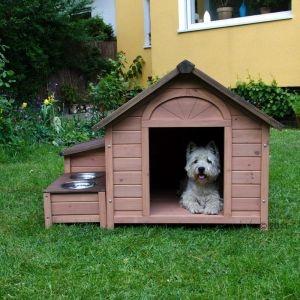Cuccia per cani Sylvan Comfort, in legno di abete pretrattato, particolarmente resistente alle intemperie. Con baule portaoggetti e doppiaciotola rialzato. Base rialzata. Facile da montare.