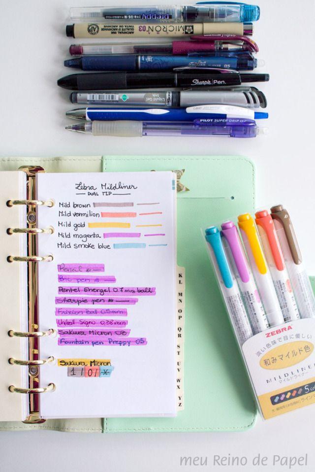 Resenha da caneta marca texto Zebra Mildliner!! Clique na imagem para ver outras fotos ;-)