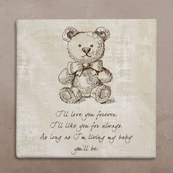 Wall art canvas with cute teddy bear and loving text in beige for your baby's room. Worldwide FREE SHIPPING with tracking number! on Etsy, $39.40