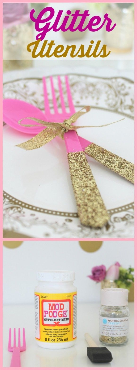 Glitter Party Utensil DIY