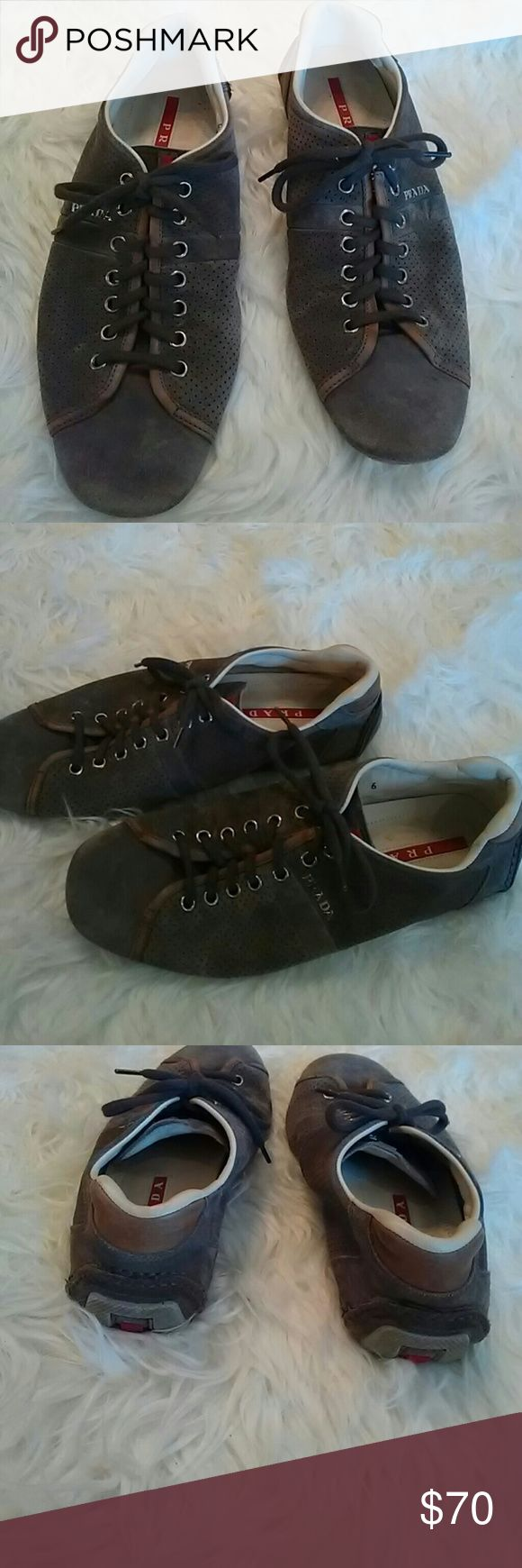 Prada man casual sneakers Taupe suede man casual sneakers in good conditions wear as shown on photos Prada Shoes Sneakers