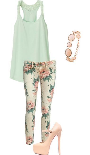 Patterned jeans. Love the colors.