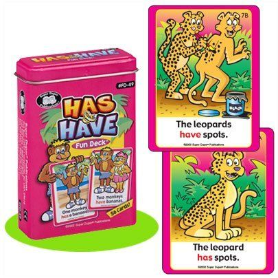 """Has & Have Fun Deck Cards - Super Duper Educational Learning Toy for Kids by Super Duper Publications. $11.95. Educational - Helps Children Learn & Understand The Verb Forms Has & Have. Has & Have Fun Deck App Available on the Amazon Appstore for Android. Fun, Easy Way to Play Matching & Memory Games. 56 Colorful, Illustrated Cards (2 1/2"""" x 3 1/2""""). Great addition to our other Card Deck items - also featured on Amazon. This unique, colorful deck presents a number of crea..."""