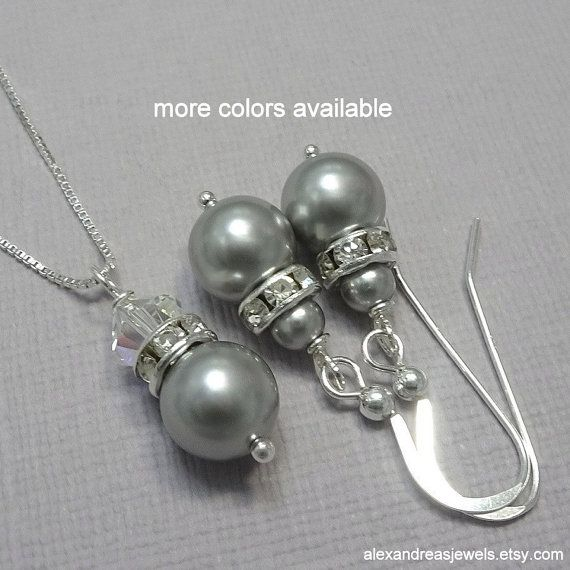 Grey Pearl Jewelry Set, Swarovski Grey Pearl Necklace, Bridesmaid Jewelry Set, Personalized Bridesmaid Gift, Grey Wedding Jewelry Set