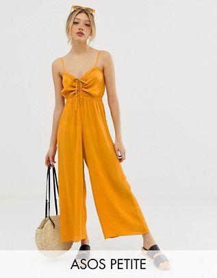 4e7c1e2e3c8 ASOS DESIGN Petite cami jumpsuit with gathered bodice detail
