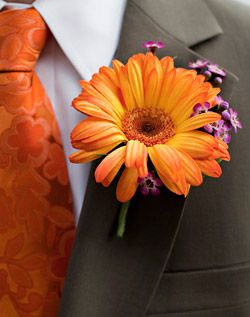 WeddingChannel Galleries: Orange Dahlia Bouttonniere