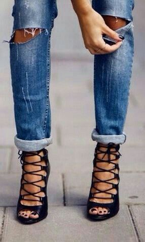 There is just something sexy about jeans with holes and the right pair of heels!