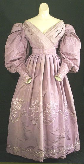Lavender silk gown, circa 1830