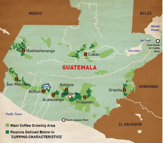 Guatemala Coffee Growing Regions Map