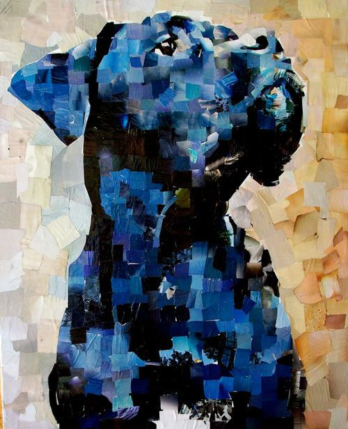 samuel price's dog portrait collages are made with hand-cut photos from recycled magazines. so cool!!