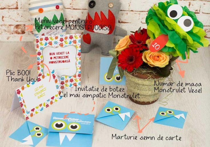 """Monster Land - pachet creat pentru o petrecere """"monstruoasa"""". Elementele setului - invitatia de botez, numerele de masa, place cardurile, meniurile, marturiile, cutia pentru dar si jucariile - sunt viu colorate si decorate cu monstruleti cu doi ochi, trei ochi, un ochi sau fara ochi, amuzanti si scosi parca din desenele naive ale copiilor."""