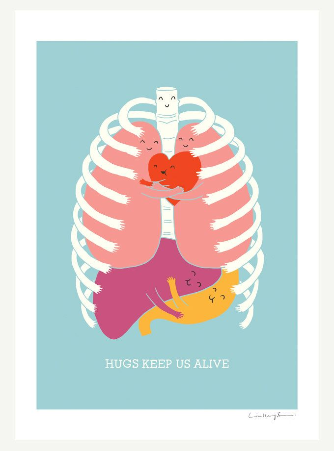 """Hugs Keep Us Alive"" Artwork via Etsy --- I would love to know the artist and price for this, but the original link seems to be missing from the pin. Any help, pin-istas? This drawing makes me think of the I Heart Guts brand of plushies that I love so much!"