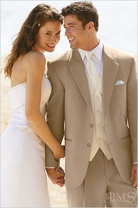 The lighter fabric in this tan suite makes it perfect for outdoor or destination weddings (Michelle's Bridal and Tuxedo)